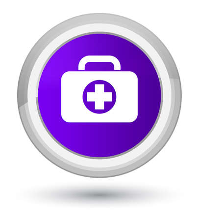 First aid kit bag icon isolated on prime purple round button abstract illustration