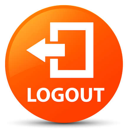 Logout isolated on orange round button abstract illustration