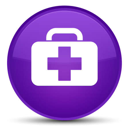 Medical bag icon isolated on special purple round button abstract illustration 版權商用圖片