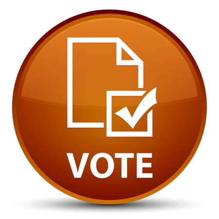 Vote (survey icon) isolated on special brown round button abstract illustration