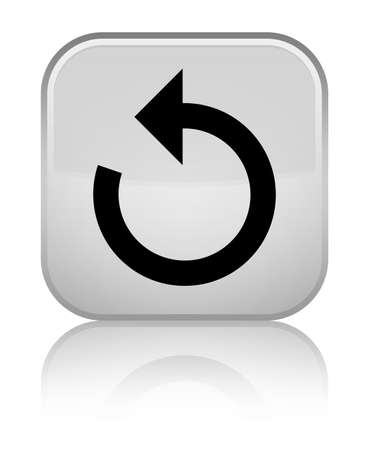 Refresh arrow icon isolated on special white square button reflected abstract illustration