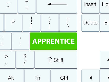 Apprentice isolated on soft green keyboard button abstract illustration