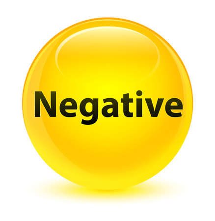 Negative isolated on glassy yellow round button abstract illustration Stock Photo
