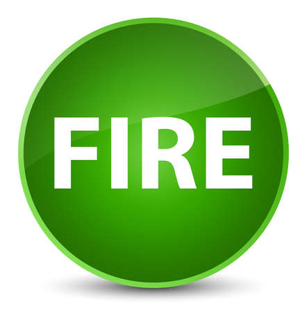Fire isolated on elegant green round button abstract illustration