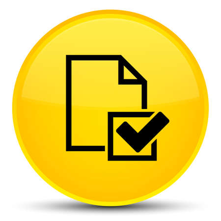 Checklist icon isolated on special yellow round button abstract illustration