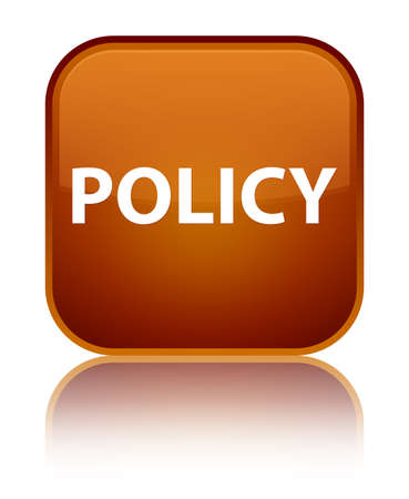 Policy isolated on special brown square button reflected abstract illustration