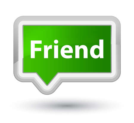 Friend isolated on prime green banner button abstract illustration