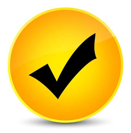Validation icon isolated on elegant yellow round button abstract illustration