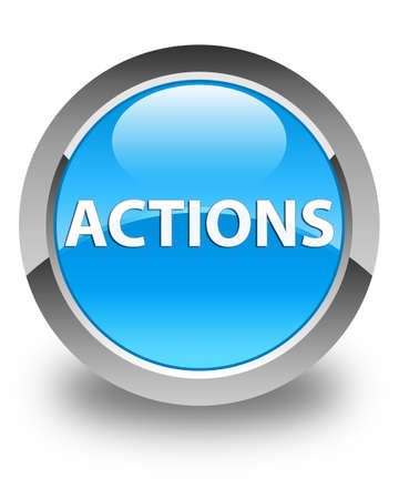 Actions isolated on glossy cyan blue round button abstract illustration Фото со стока