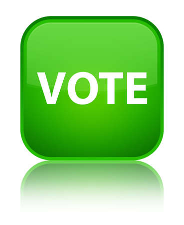 Vote isolated on special green square button reflected abstract illustration Stock Photo