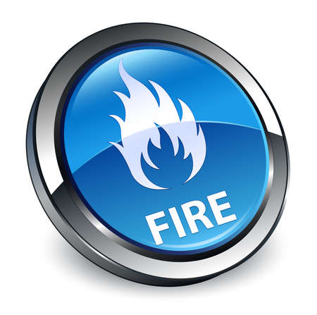 Fire isolated on 3d blue round button abstract illustration Stock Photo