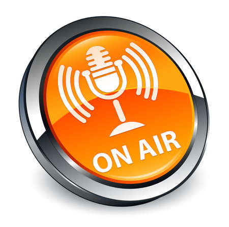 On air (mic icon) isolated on 3d orange round button abstract illustration