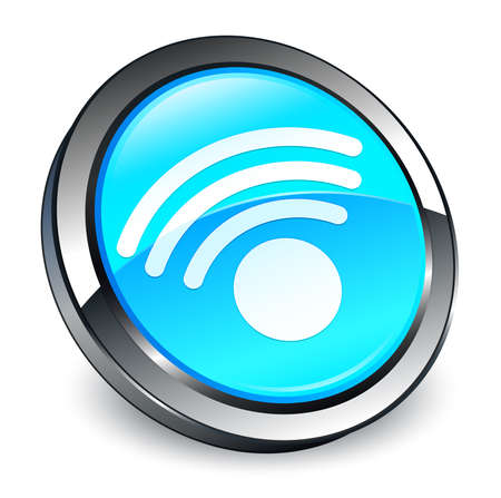 Wifi icon isolated on 3d cyan blue round button abstract illustration Stock Photo