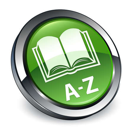 A-Z (book icon) isolated on 3d soft green round button abstract illustration
