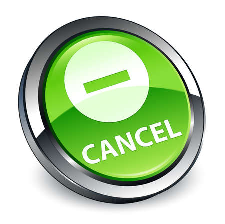Cancel isolated on 3d green round button abstract illustration Stock Photo