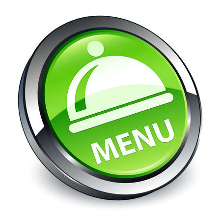 Menu (food dish icon) isolated on 3d green round button abstract illustration