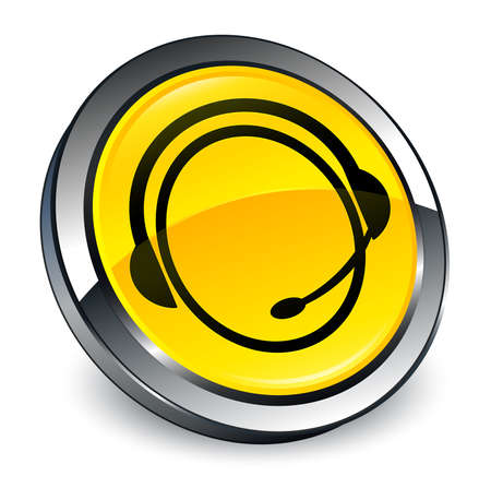 Customer care service icon isolated on 3d yellow round button abstract illustration