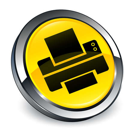 Printer icon isolated on 3d yellow round button abstract illustration