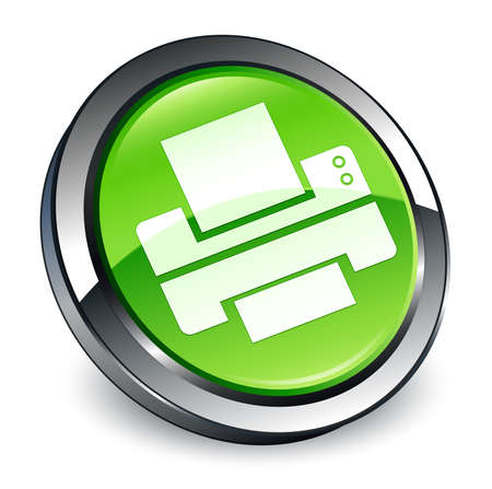 Printer icon isolated on 3d green round button abstract illustration
