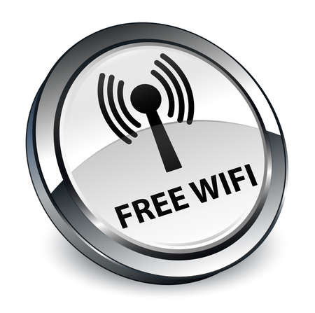 Free wifi (wlan network) isolated on 3d white round button abstract illustration Stock Photo