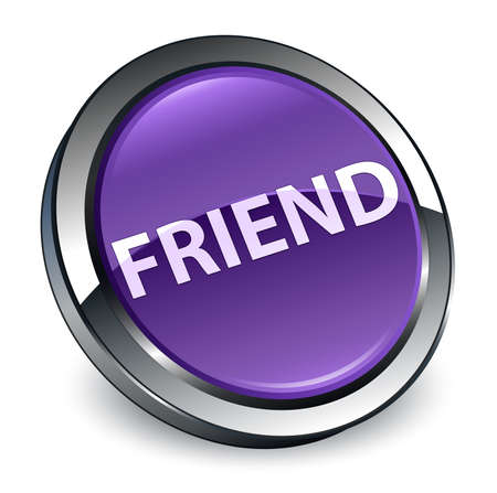 Friend isolated on 3d purple round button abstract illustration
