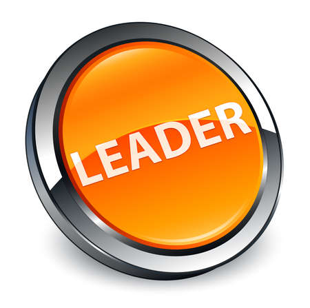 Leader isolated on 3d orange round button abstract illustration