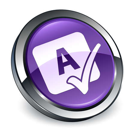 Spell check icon isolated on 3d purple round button abstract illustration