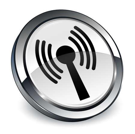 Wlan icône réseau isolé sur blanc bouton rond 3d illustration vectorielle Banque d'images - 98170666