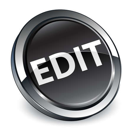 Edit isolated on 3d black round button abstract illustration