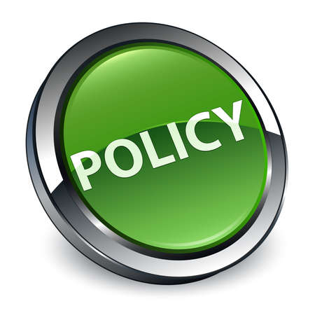 Policy isolated on 3d soft green round button abstract illustration