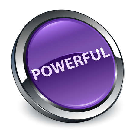 Powerful isolated on 3d purple round button abstract illustration 版權商用圖片