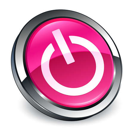 Power icon isolated on 3d pink round button abstract illustration Фото со стока