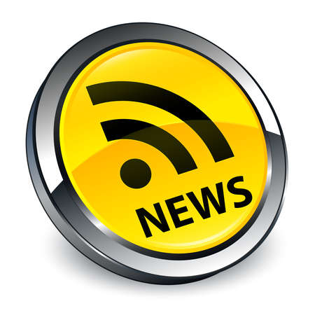 News (RSS icon) isolated on 3d yellow round button abstract illustration