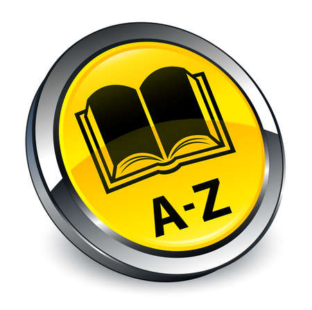 A-Z (book icon) isolated on 3d yellow round button abstract illustration
