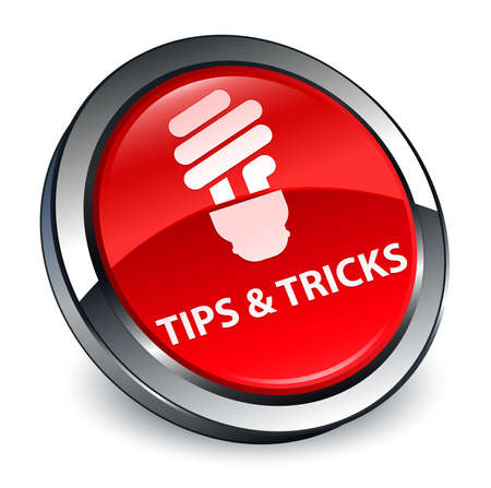 Tips and tricks (bulb icon) isolated on 3d red round button abstract illustration