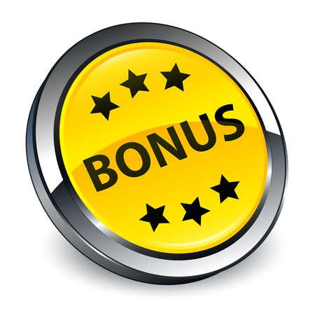 Bonus icon isolated on 3d yellow round button abstract illustration