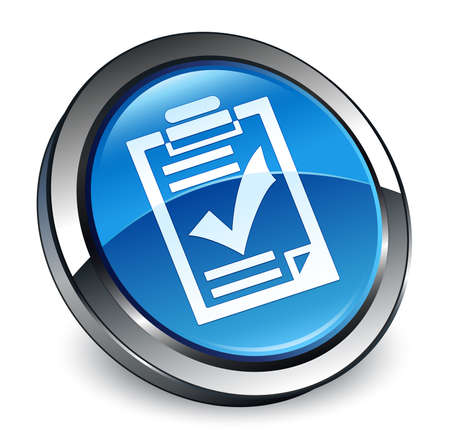 Checklist icon isolated on 3d blue round button abstract illustration Stock Photo