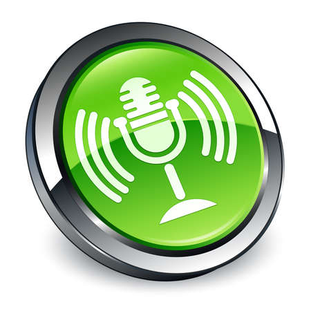 Mic icon isolated on 3d green round button abstract illustration Stock Photo