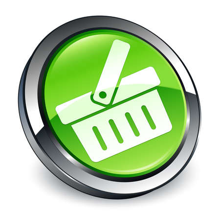 Shopping cart icon isolated on 3d green round button abstract illustration Stock Photo