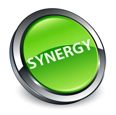 Synergy isolated on 3d green round button abstract illustration Stockfoto