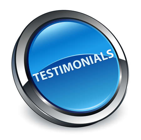 Testimonials isolated on 3d blue round button abstract illustration