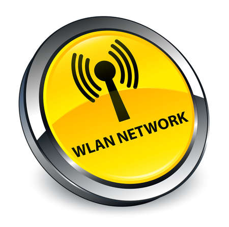 Wlan network isolated on 3d yellow round button abstract illustration Stock Photo