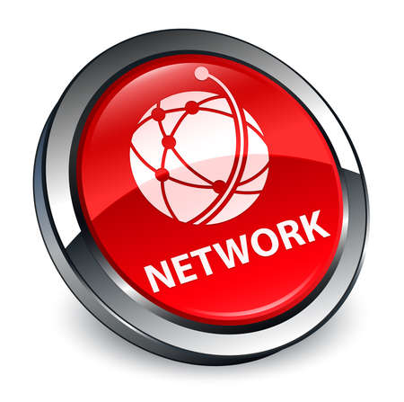 Network (global network icon) isolated on 3d red round button abstract illustration Stock Photo