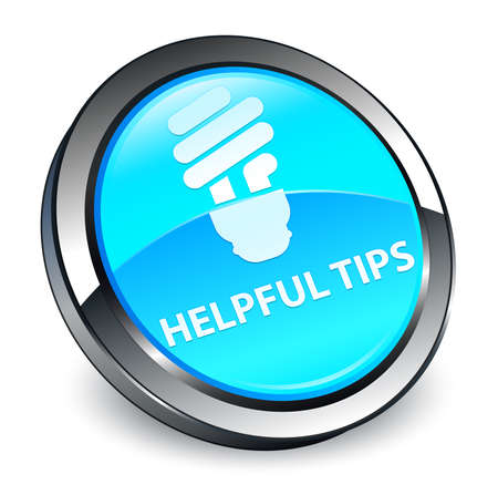 Helpful tips (bulb icon) isolated on 3d cyan blue round button abstract illustration