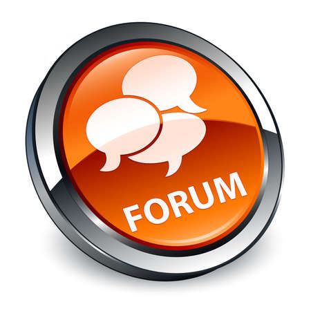 Forum (comments icon) isolated on 3d brown round button abstract illustration Stock Photo