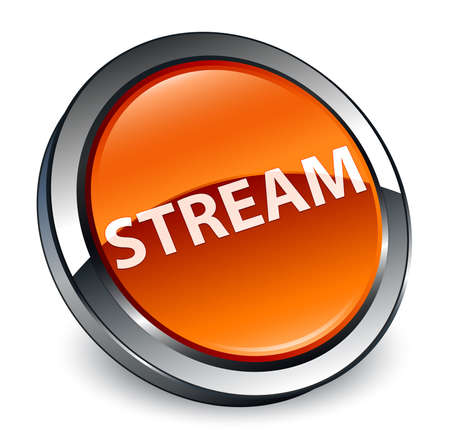 Stream isolated on 3d brown round button abstract illustration Stock Photo