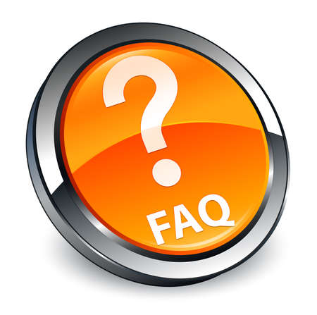 Faq (question icon) isolated on 3d orange round button abstract illustration
