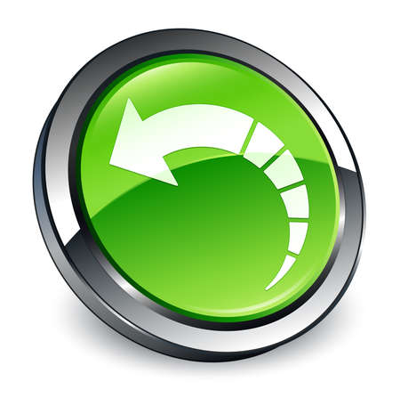 Back arrow icon isolated on 3d green round button abstract illustration