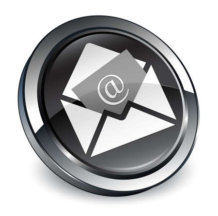 Newsletter email icon isolated on 3d black round button abstract illustration Stock Photo