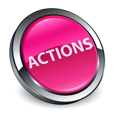 Actions isolated on 3d pink round button abstract illustration Фото со стока - 99955134